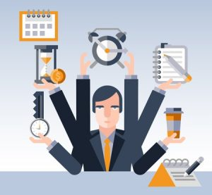time management concept with multitasking businessman with many hands and successful planning elements illustration
