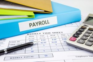 payroll word on blue binder place on weekly time sheet and payroll summary report, human resources concept