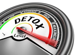 detox level conceptual meter indicate maximum, isolated on white background