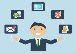 multitasking concept with business man in suite and tie managing different activities like email, budget, colleagues, customers, targets and meeting schedules.